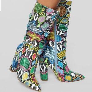 Bring It On Heeled Boots- Rainbow Snake